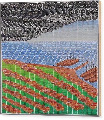 Fishing Shack Town Wood Print