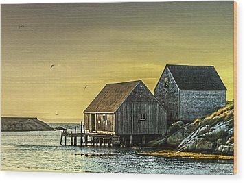 Fishing Shacks At Sunset Wood Print