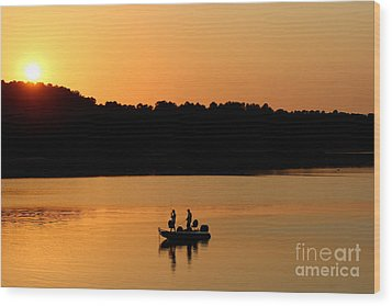 Wood Print featuring the photograph Fishing Silhouette  by Kathy  White