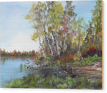 Fishing Spot Wood Print by Dorothy Maier