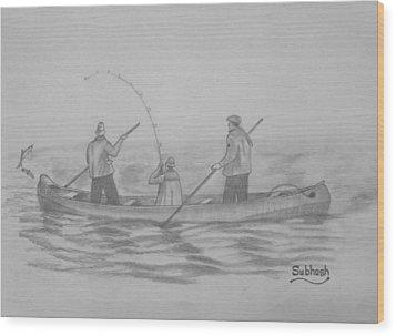 Fishing..... Wood Print by Subhash Mathew