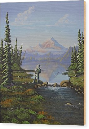 Wood Print featuring the painting Fishing The High Lakes by Richard Faulkner