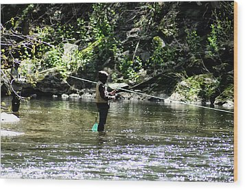 Fishing The Wissahickon Wood Print by Bill Cannon