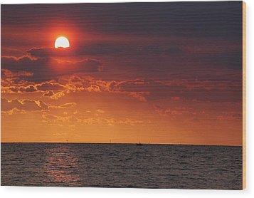 Fishing Till The Sun Goes Down Wood Print by Michael Thomas