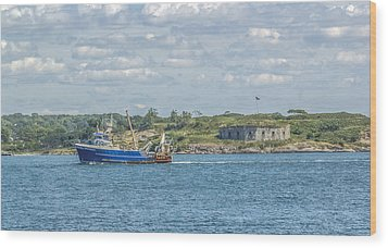 Wood Print featuring the photograph Fishing Trawler Coming Into Port by Jane Luxton