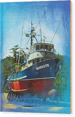 Fishing Vessel Resolute Wood Print by Sadie Reneau