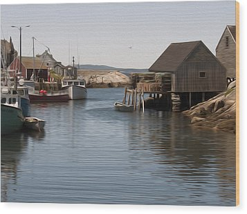 Wood Print featuring the digital art Fishing Village by Kelvin Booker