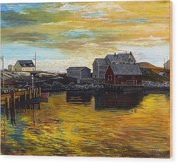 Fishing Village Maine  Wood Print by Stuart B Yaeger