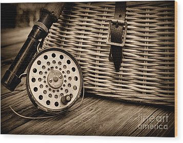 Fishing - Vintage Fly Fishing - Black And White Wood Print by Paul Ward