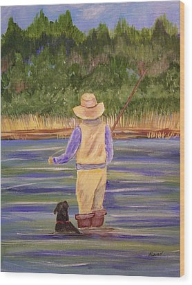Fishing With Dog Wood Print by Belinda Lawson