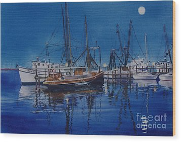 Wood Print featuring the painting Fishmoon by Karol Wyckoff