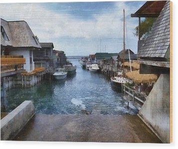 Fishtown Leland Michigan Wood Print by Michelle Calkins