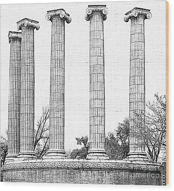 Five Columns Sketchy Wood Print by Debbie Portwood