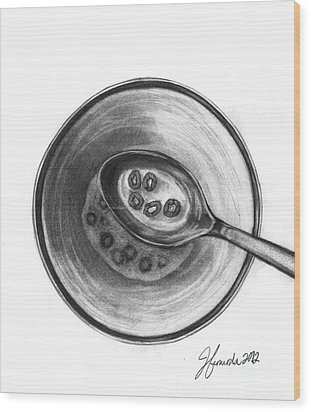 Wood Print featuring the drawing Five Golden Rings by J Ferwerda