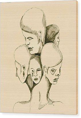 Five Headed Figure Wood Print by Sam Sidders