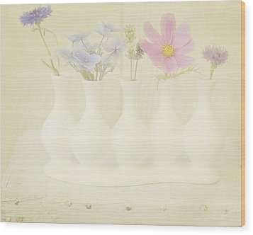 Five Little Bouquets Wood Print by Bonnie Bruno