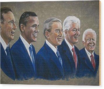 Five Living Presidents 2009 Wood Print by Martha Suhocke