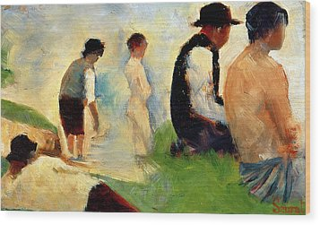 Five Male Figures Possible Preparatory Sketch For The ''bathers At Asnieres.'' Wood Print by Georges Pierre Seurat