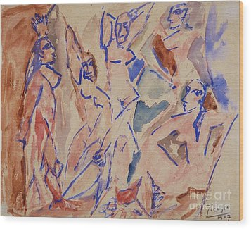 Five Nudes Study Wood Print by Pg Reproductions