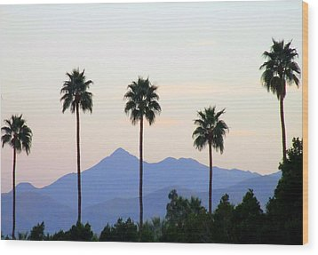 Five Palms Wood Print by Randall Weidner