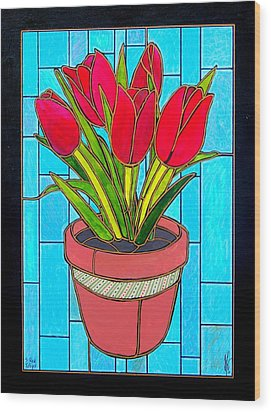 Five Red Tulips Wood Print by Jim Harris