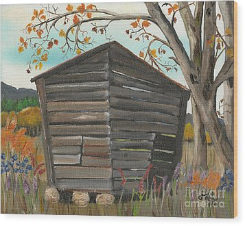 Wood Print featuring the painting Autumn - Shack - Woodshed by Jan Dappen