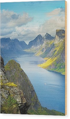 Wood Print featuring the photograph Fjord by Maciej Markiewicz
