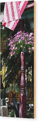 Flag And Flowers 6110 Pe Wood Print by Jerry Sodorff