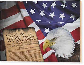 Flag Constitution Eagle Wood Print by Daniel Hagerman