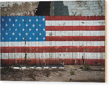 Flag Fence Wood Print