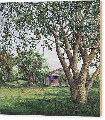Flag House Wood Print by AnnaJo Vahle