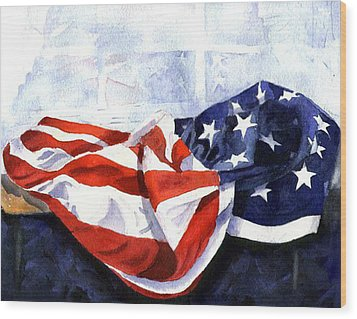 Flag In  The Window Wood Print by Suzy Pal Powell