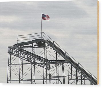 Flag Mounted On Seaside Heights Roller Coaster Wood Print by Melinda Saminski