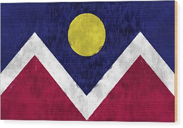 Flag Of Denver Wood Print by World Art Prints And Designs
