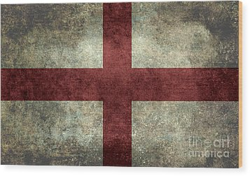 Flag Of England St Georges Cross Vintage Version To Scale Wood Print