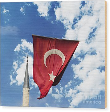 Flag Of Turkey Wood Print by Jelena Jovanovic