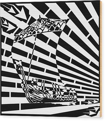 Flag Of Tynwald Maze Aka Isle Of Man Parliament Wood Print by Yonatan Frimer Maze Artist