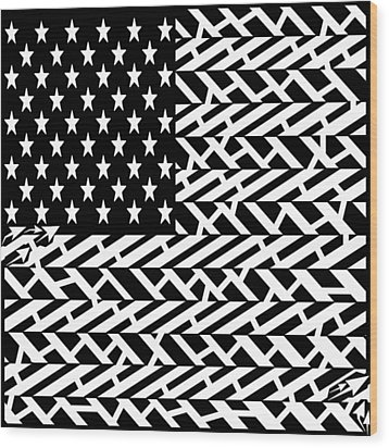 Flag Of Usa Maze Wood Print by Yonatan Frimer Maze Artist