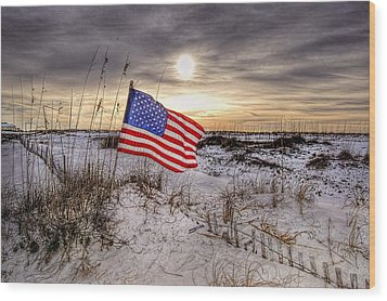 Flag On The Beach Wood Print