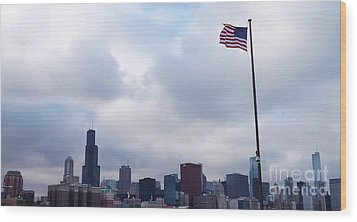 Wood Print featuring the photograph Flag Over City by Brigitte Emme