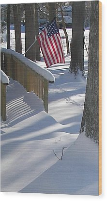 Flag Over Morning Snow Wood Print