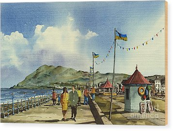 Flag Poles On Bray Prom Wicklow Wood Print