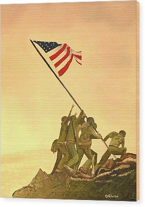 Flag Raising At Iwo Jima Wood Print