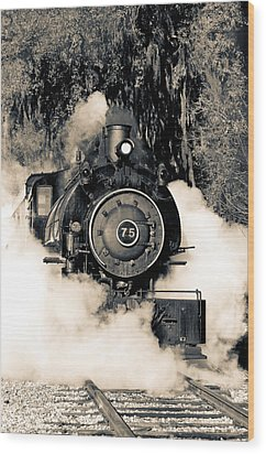 Flagg Coal Steam Engine Blow Out Wood Print