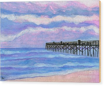 Flagler Beach Pier Wood Print by Roz Abellera Art