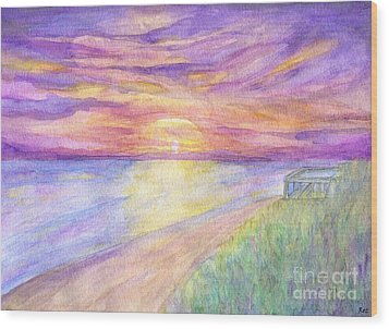 Flagler Beach Sunrise Wood Print by Roz Abellera Art