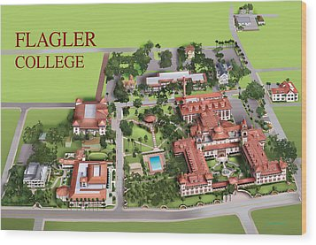 Flagler College Wood Print by Rhett and Sherry  Erb