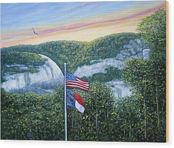 Wood Print featuring the painting Flags At Sunset by Fran Brooks