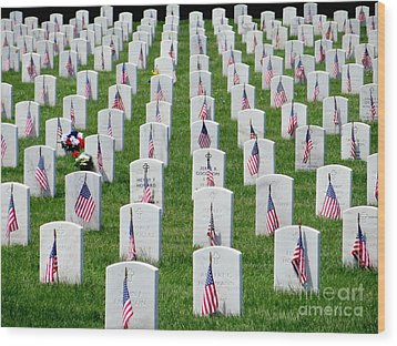 Wood Print featuring the photograph Flags Of Honor by Ed Weidman
