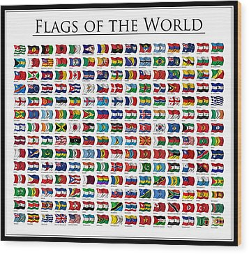 Flags Of The World Wood Print